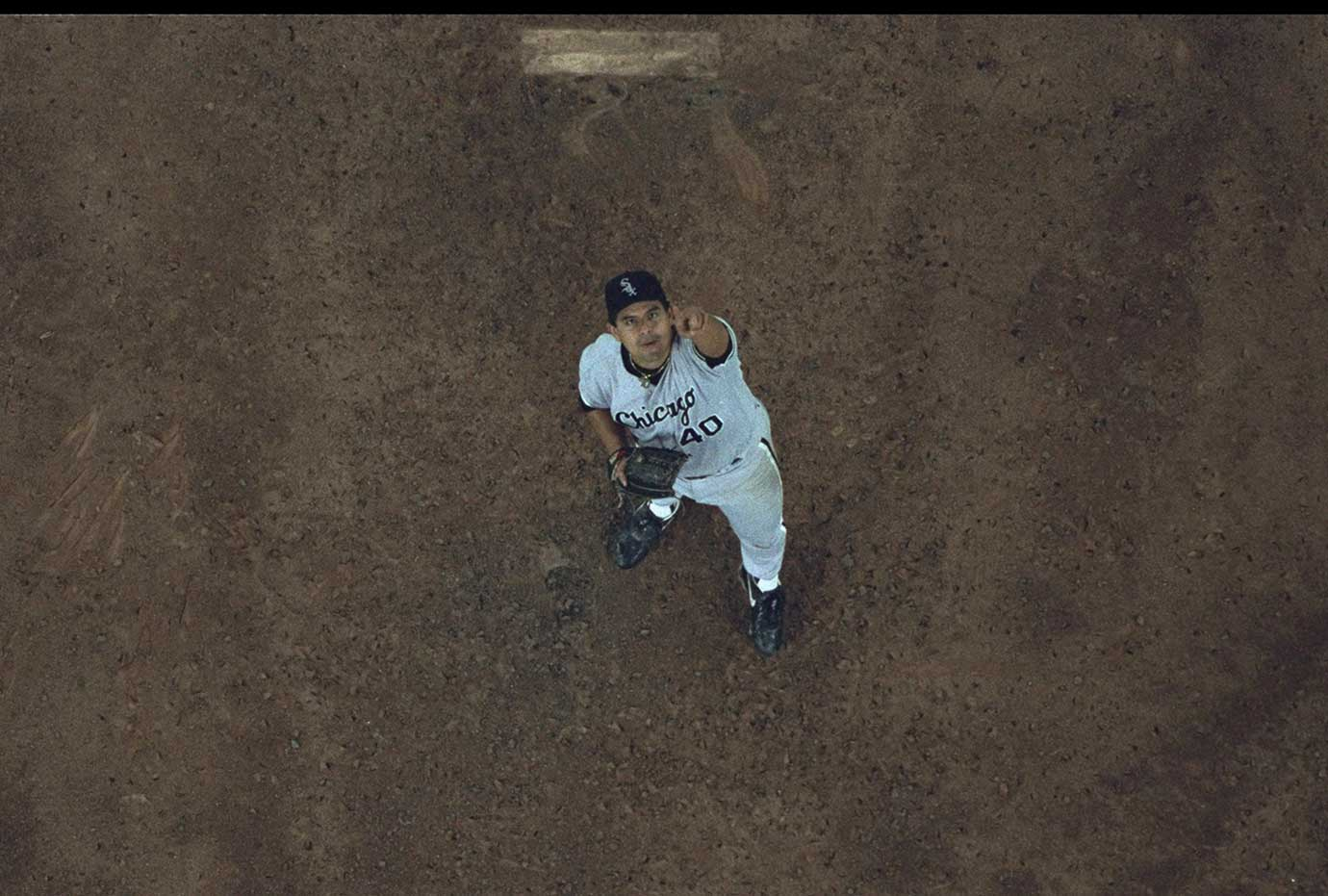 Chicago White Sox pitcher Wilson Alvarez stands under the last out pop up in a 1993 playoff game.