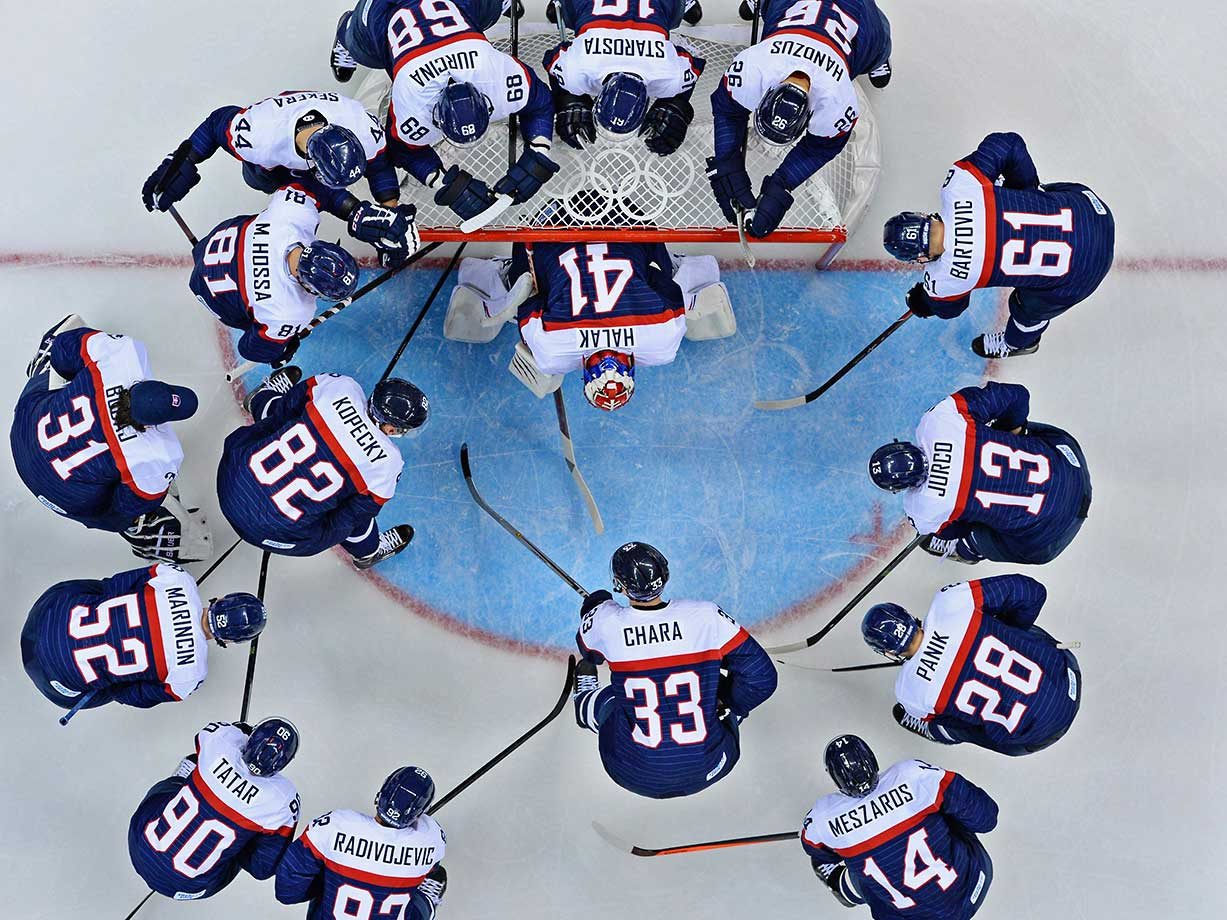 Slovakia's Olympic hockey team before a game against the U.S. at the Sochi 2014 Winter Olympics.