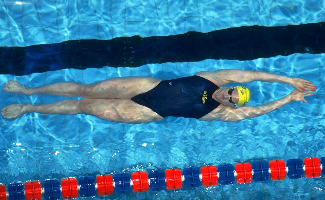 Janie Wagstaff  in the 100-meter backstroke at the 1992 U.S. Olympic Swimming Trials.