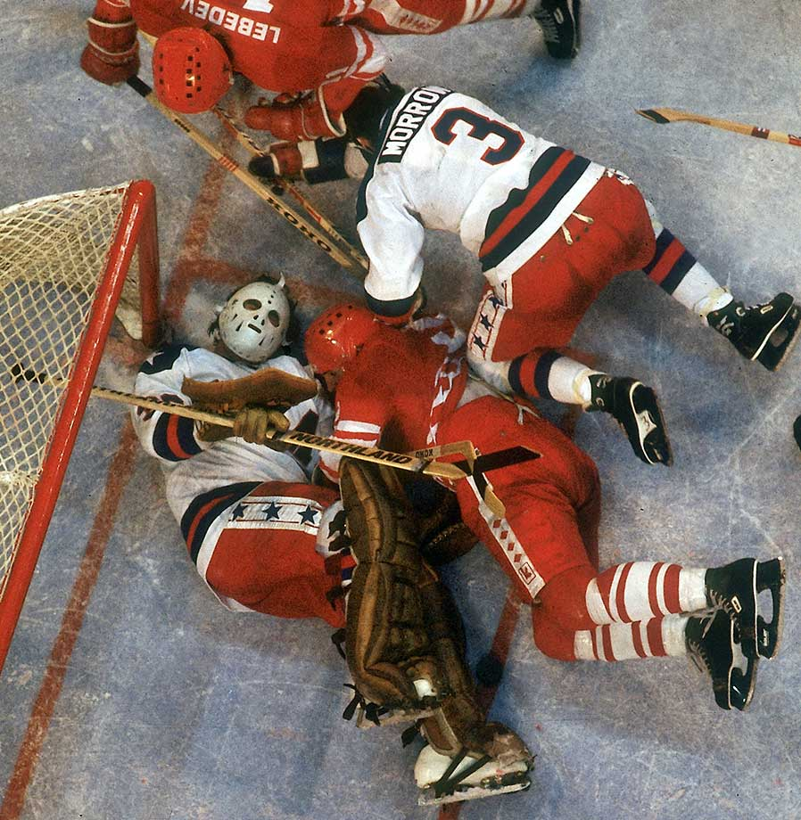 USA goalie Jim Craig and Ken Morrow (3)  defending the net in the 1980 Miracle on Ice victory over the USSR in Lake Placid, N.Y.
