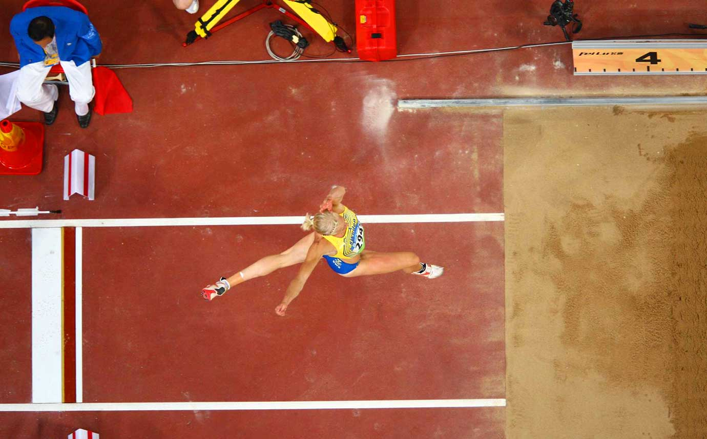 The view from the triple jump pit at the 2008 Beijing Summer Olympic Games.