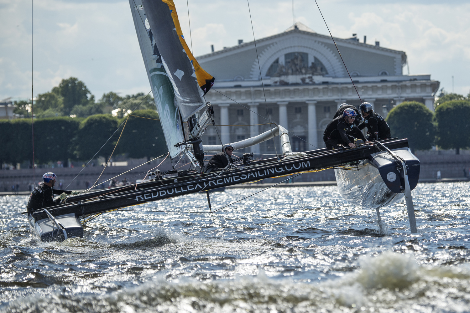 The Red Bull Extreme Sailing Team during the Extreme Sailing Series Act 4 in Saint Petersburg, Russia.