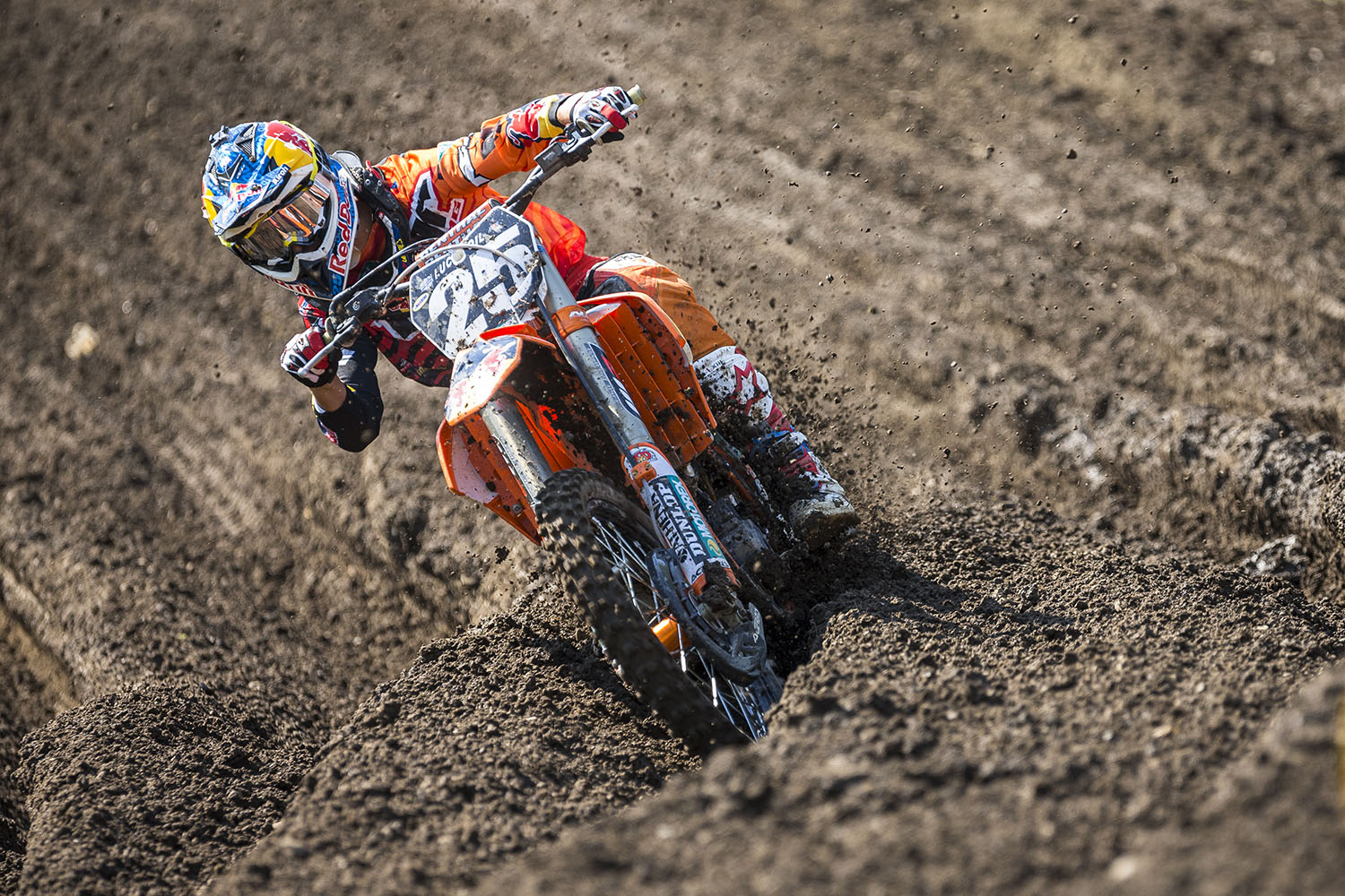 Marvin Musquin competes in the AMA Pro Motocross Championships at Unadilla Valley Sports Center in New Berlin, New York on August 9th, 2014.