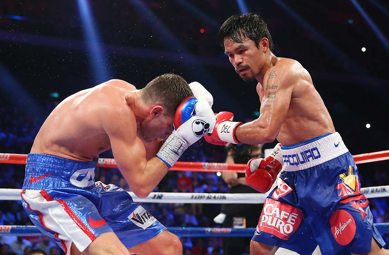 Manny Pacquiao knocked Chris Algieri down six times and won a lopsided 12-round decision in his most recent fight to date, a November 2014 bout in Macau.