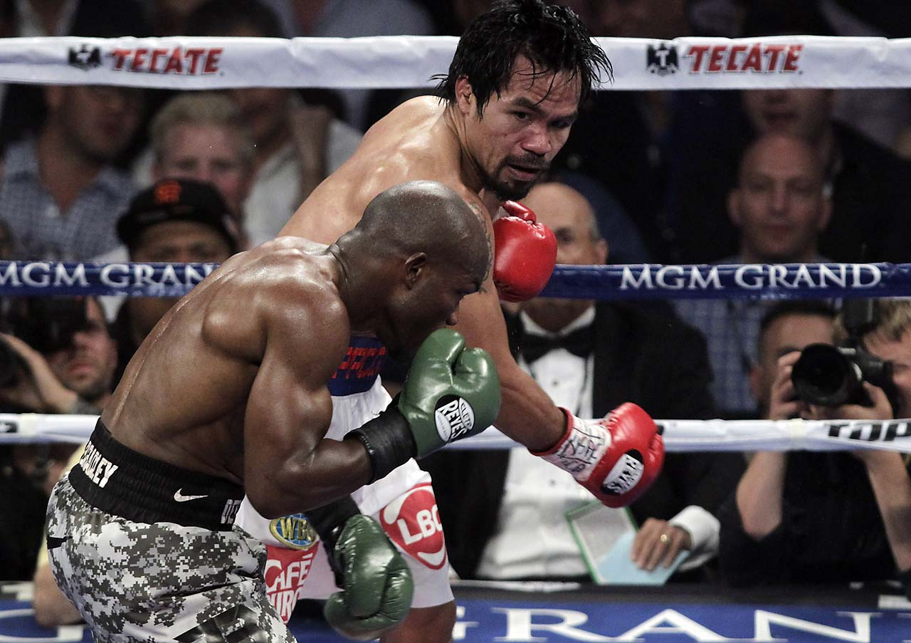 Pacquiao won a unanimous decision in the April 2014 rematch with Bradley, avenging his 2012 loss and claiming the WBO welterweight title. Pacquiao (56-5-2) pursued and peppered the previously unbeaten Bradley around the MGM Grand Garden ring with an aggressive effort occasionally recalling the Pacman in his prime. Bradley fought back with counterpunching and elusiveness, but Pacquiao kept up his attack while Bradley (31-1) struggled down the stretch. (Text: AP)