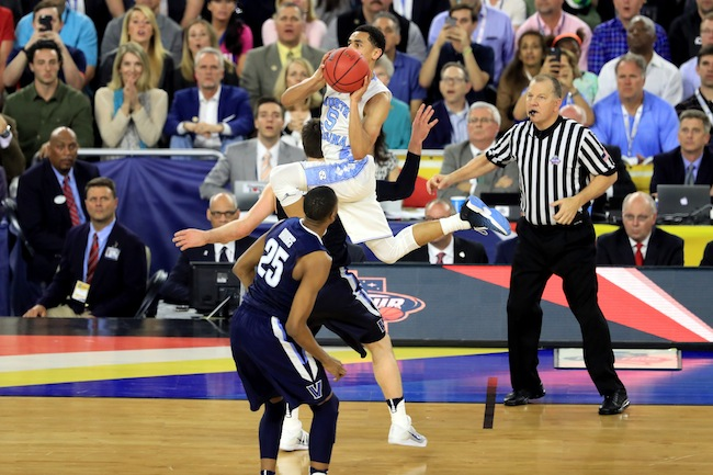 After two Final Four blowouts sent UNC and Villanova to the championship, these teams with upperclassmen-filled rosters showed skill under pressure in a close, well-played game. The Tar Heels led most of the way until the Wildcats' ball pressure created scoring opportunities. Villanova was then able to build a 10-point lead late in the game. The skill and persistence of both teams made it clear this championship would come down to the wire, and with UNC trailing by three with just 4.7 seconds left, UNC guard Marcus Paige sank an off-balance, scissor-split three-pointer over Ryan Arcidiacono to send the game into overtime...