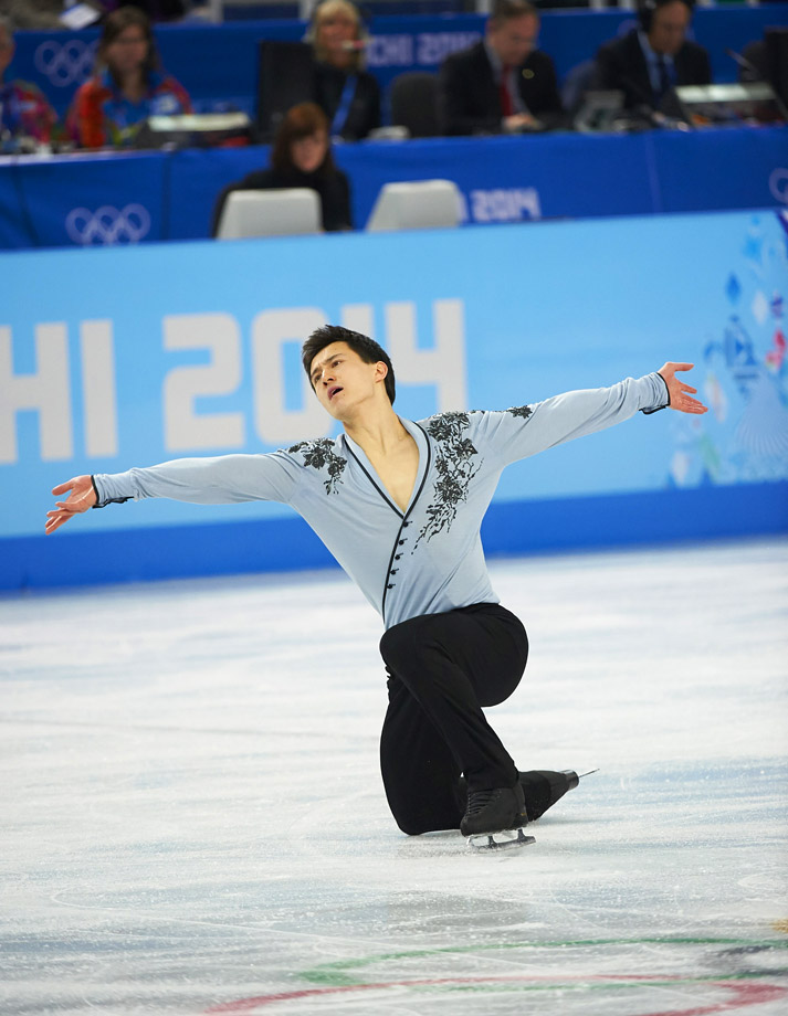 Canadian figure skater Patrick Chan is a 2014 Olympic silver medalist in the men's and team events, a three-time World champion (2011, 2012, 2013), a two-time Grand Prix Final champion (2010 and 2011), a two-time Four Continents champion (2009, 2012), and a seven-time Canadian national champion (2008–2014).