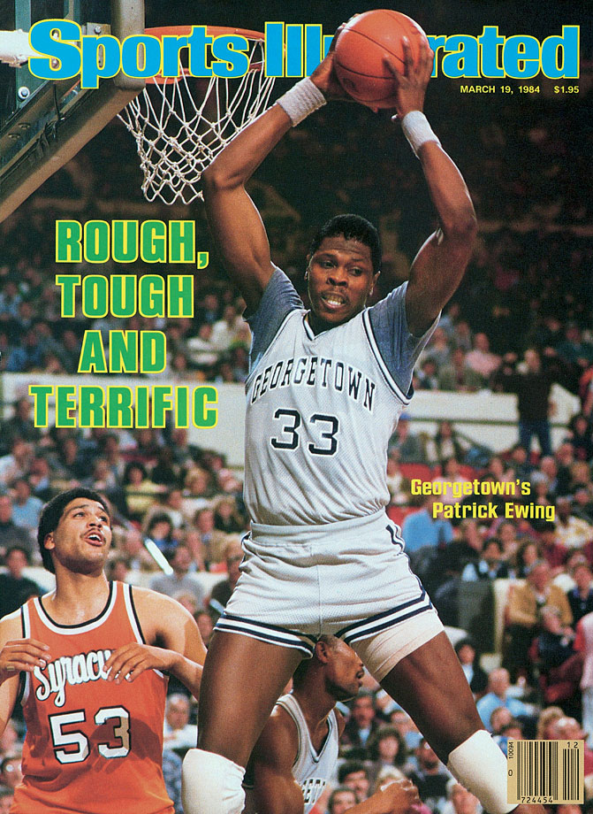 The most intimidating defensive center since Bill Russell, Ewing was a three-time All-America and was the 1985 Naismith Player of the Year. He led the Hoyas to three NCAA championship games. In the 1982 final against North Carolina, Ewing was whistled for goaltending on the Tar Heels' first five possessions. He finished with 23 points and 11 rebounds in the one-point loss. In 1984, he was named the Final Four's Most Outstanding Player as he led the Hoyas past Hakeem Olajuwon's Houston Cougars. Georgetown almost won the next year but was shocked by eighth-seeded Villanova in arguably the biggest upset in NCAA tournament history.