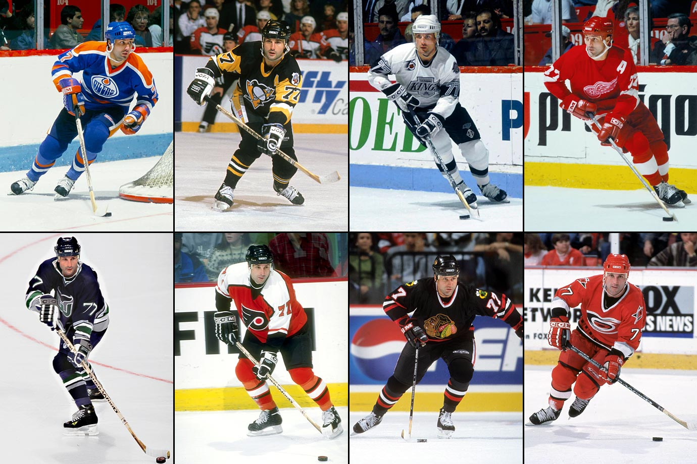 Edmonton to Pittsburgh (11/24/87), Pittsburgh to Los Angeles (2/19/92), Los Angeles to Detroit (1/29/93), Detroit to Hartford (10/9/96), Hartford to Philadelphia (12/15/96), Philadelphia to Chicago (6/27/98), Chicago to Carolina (12/29/98)