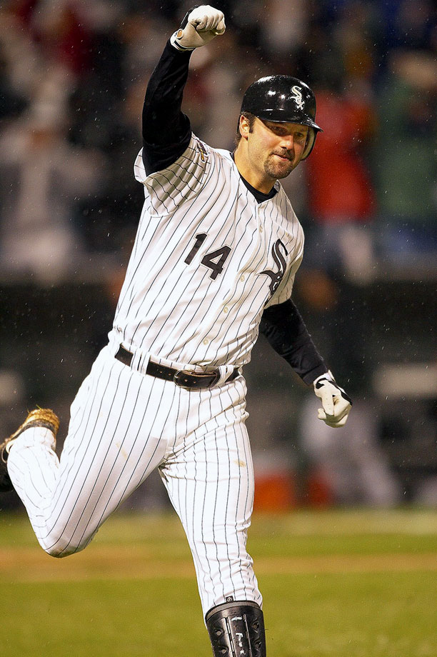 """The longtime White Sox slugger retired the end of the season, completing an 18-year major league career, 16 of those spent in Chicago. Team owner Jerry Reinsdorf said """"of course"""" Konerko's jersey will be retired and that the six-time All-Star is """"worthy of a statue."""" He added that Konerko has """"always conducted himself with class.""""  Konerko has 439 career home runs — with all but seven coming for Chicago — 1,412 RBIs and an .841 OPS."""