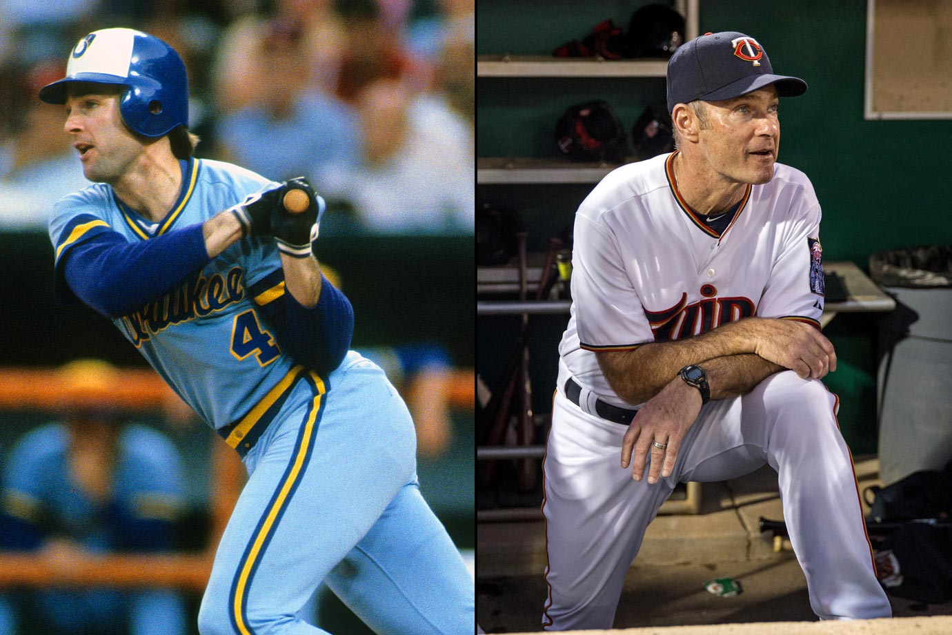 The Hall of Fame first baseman played 21 years in the major leagues and ranks ninth all-time in hits with 3,319. Molitor played 15 seasons with the Brewers, followed by three with the Blue Jays, with whom he won the World Series in 1993. Molitor played his final three seasons with the Twins, with whom he got his 3,000th career hit. The Minnesota native's first year as a manager comes in 2015 with the Twins.