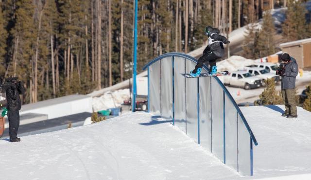 Peetu Piironinen in the men's snowboard slopestyle finals.