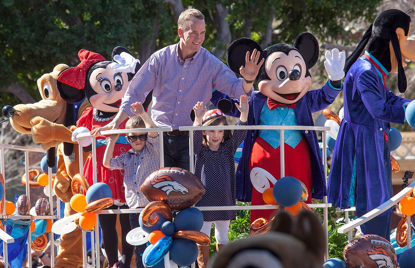Peyton Manning with his children at Disneyland Park in Anaheim after winning Super Bowl 50 over the Carolina Panthers.