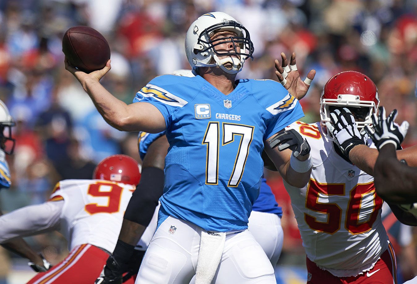 Rivers did a lot with very little in the run game to help him in 2014. Undrafted rookie Branden Oliver led the team with just 582 rushing yards, but Rivers still put up quality stats. The one metric that should be cause for concern, though, is his league-leading 18 interceptions. Rivers should have a better support system in 2015 with upgrades along the offensive line and the addition of first-round running back Melvin Gordon.
