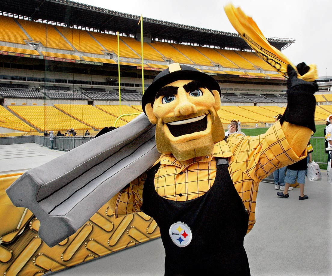 When did Rob Riggle become an NFL mascot!?! Much like his 49ers brethren, Steely is forced to wear a smile wherever he goes – funerals, prison, Pittsburgh …