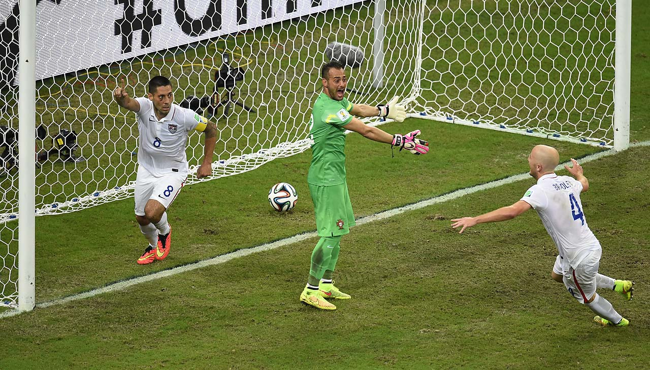 Clint Dempsey's second goal of the 2014 World Cup came in the 81st minute against Portugal and gave the U.S. a brief 2-1 lead. Dempsey used his stomach to direct the ball into the net from a cross by Graham Zusi.