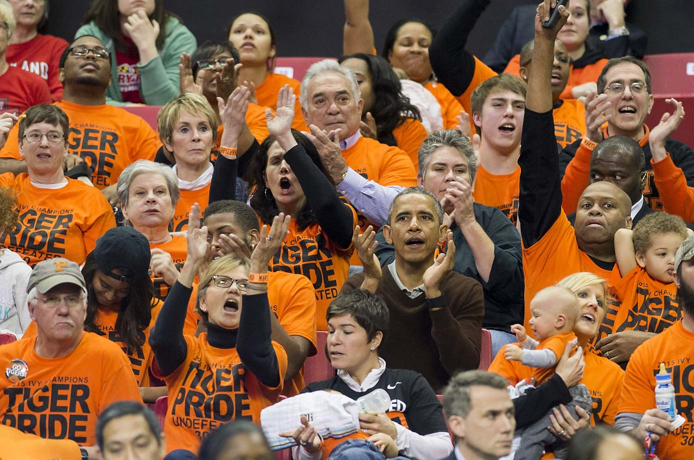 President Barack Obama attends a 2015 tournament game between Princeton and Green Bay at the XFINITY Center in College Park, Maryland.