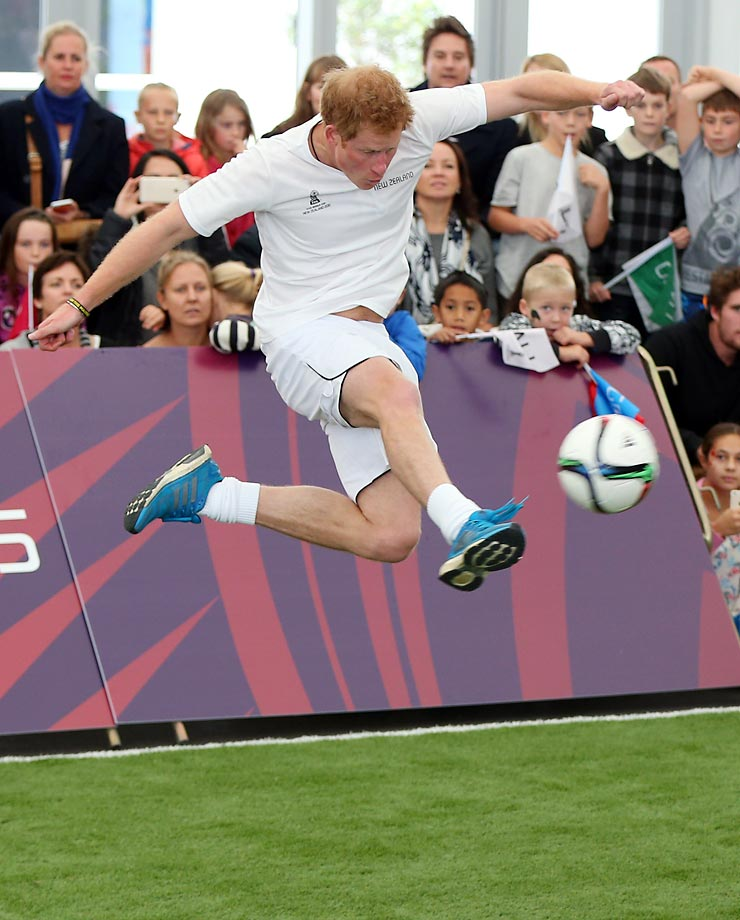 Prince Harry takes part in a football demonstration at a FIFA Under 20 World Cup football event in Auckland.