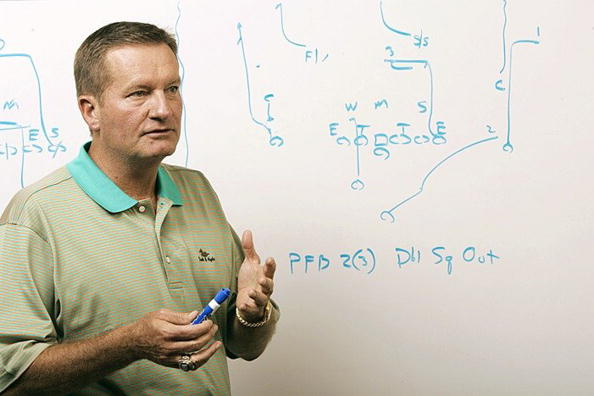 Ravens Coach Jim Fassel explains a complicated play in a series that was not picked up by PBS