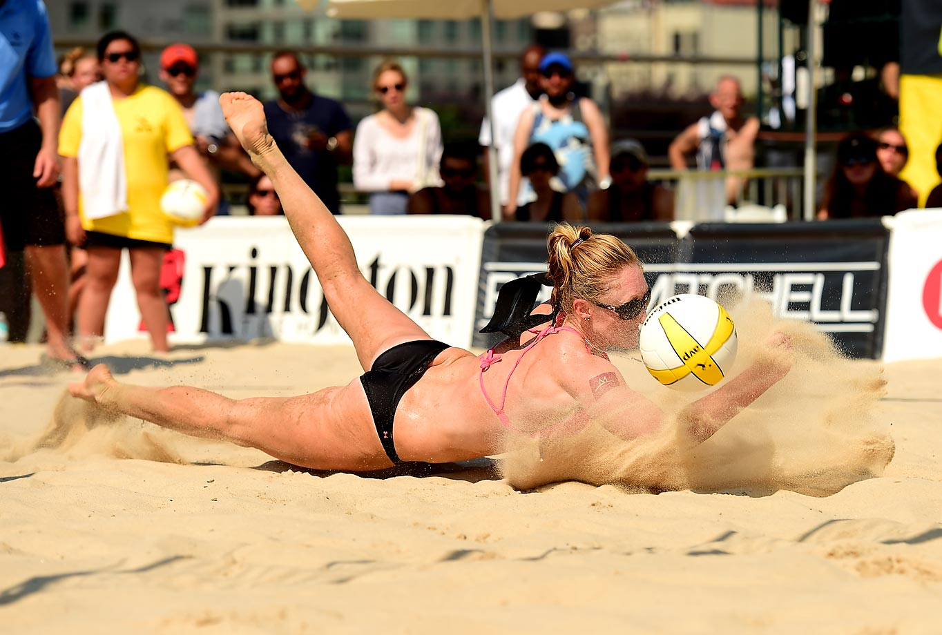 Emily Day with a sandy dig.
