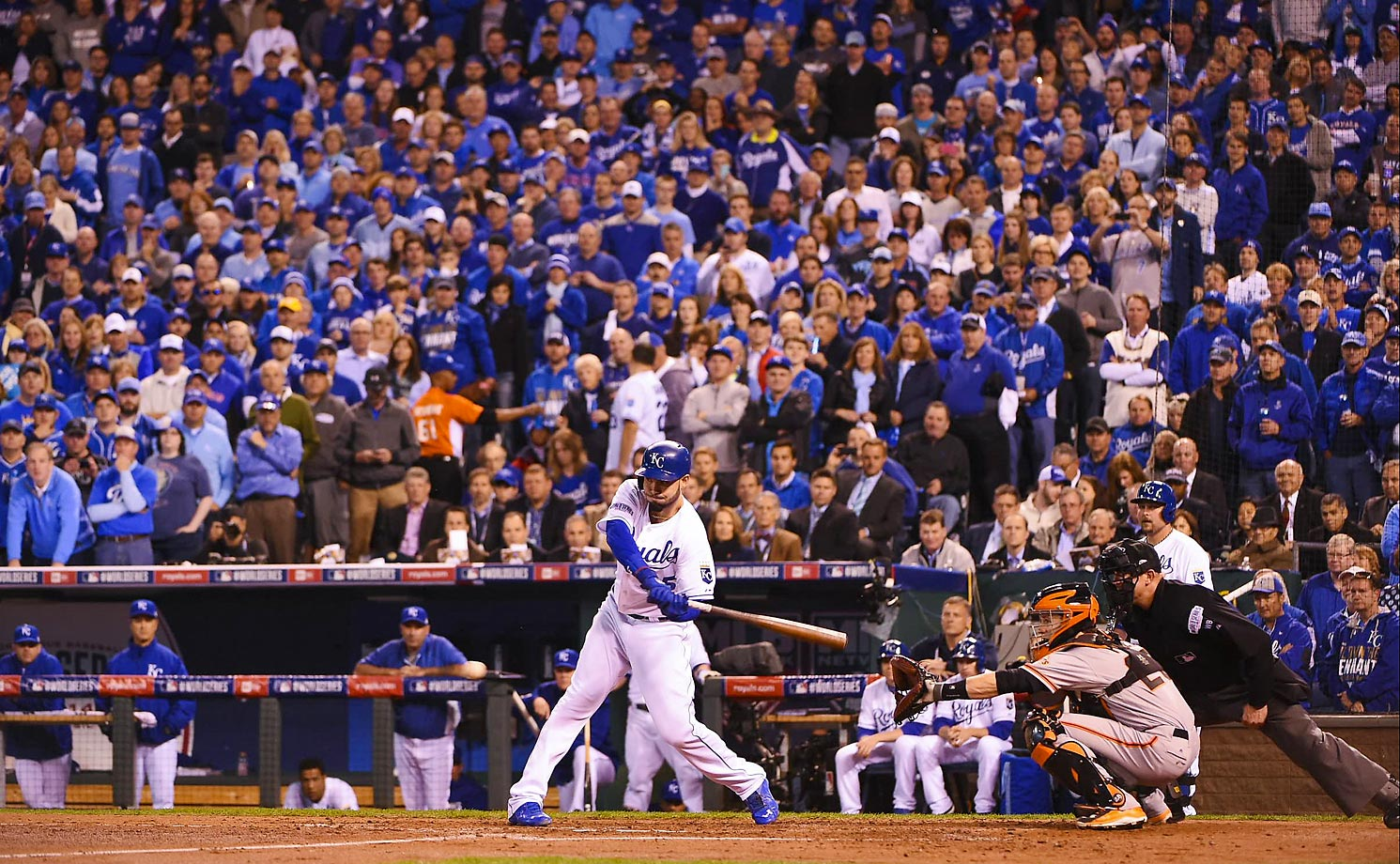 Kansas City Royals first baseman Eric Hosmer connects for a two run double in the second inning.
