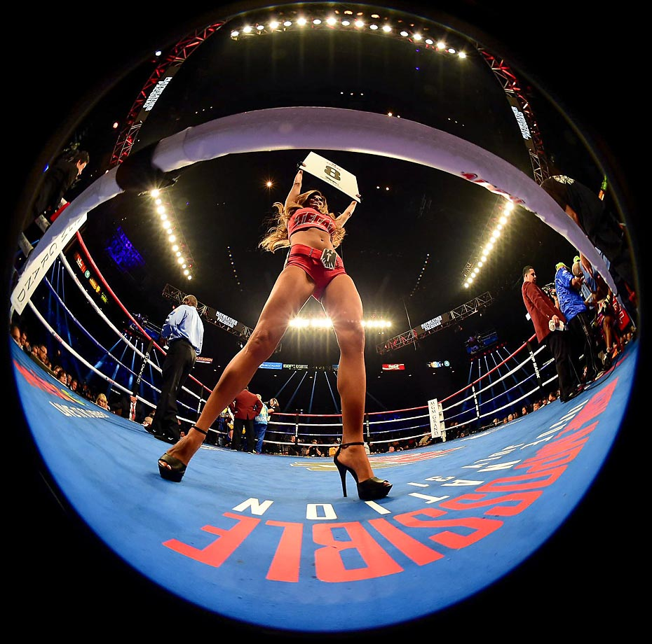 A ring girl during the fight between Vasyl Lomanchenko and Gamalier Rodriguez.