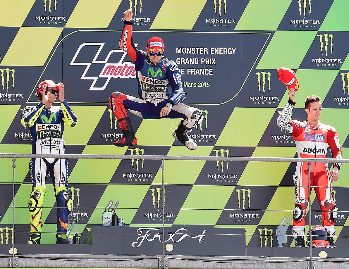 The podium during MotoGP Monster Energy Grand Prix in France.