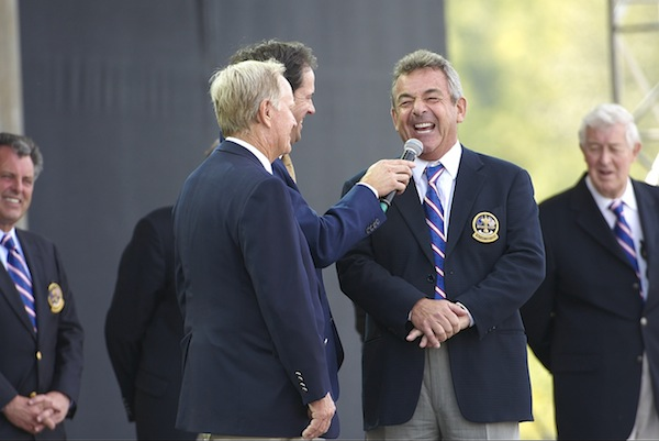 Former Team Europe captain Tony Jacklin with former USA captain Jack Nicklaus during Opening Ceremony on Thursday at Valhalla GC.                 Louisville, KY 9/18/2008