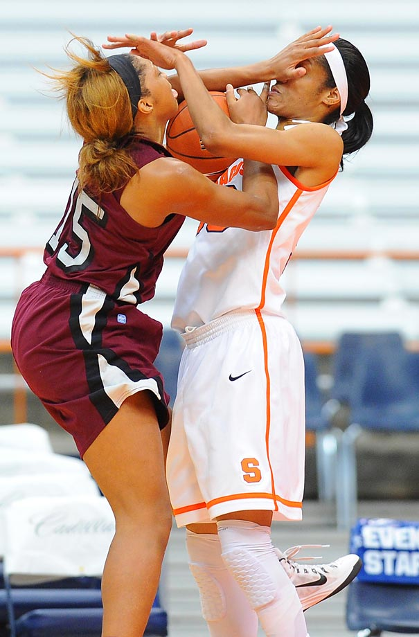 Racquel Davis of North Carolina Central and Briana Day  of the Syracuse Orange battle for a loose ball.