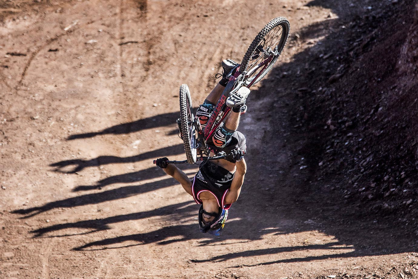 Szymon Godziek of Poland back flips the Canyon Gap.