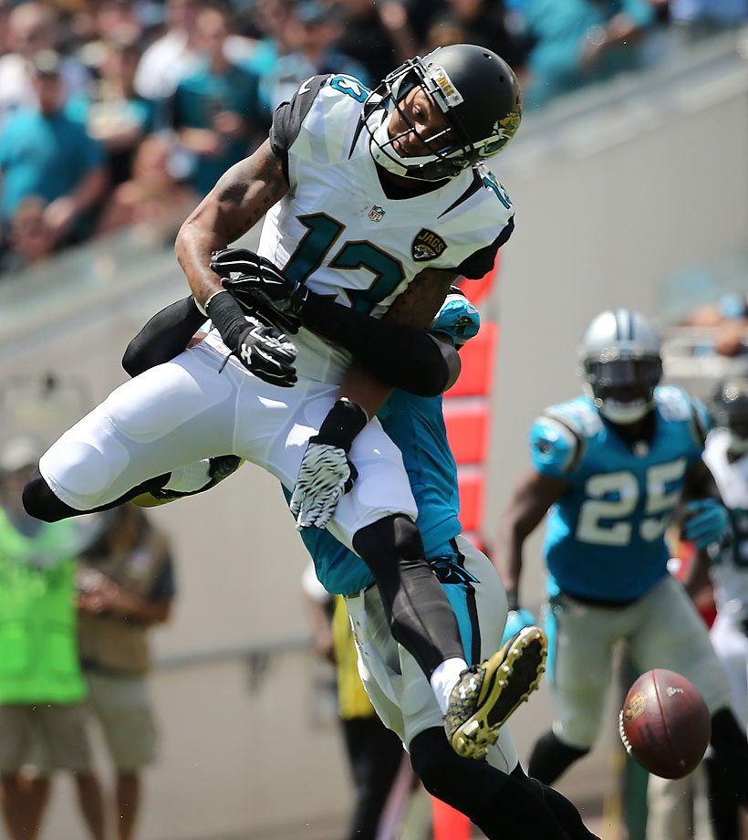 Rashad Greene of the Jacksonville Jaguars misses a pass during a game against the Carolina Panthers.