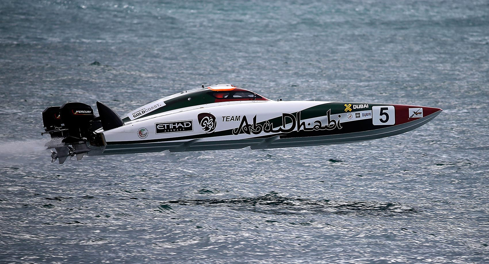 Rashed Suhail Al Tayer and Faleh Khalfan Al Mansoori of Abu Dhabi Team compete in the race for Pole Position on day 1 of the Gold Coast GP.  XCAT, short for extreme catamaran, is one of the most challenging and extreme forms of powerboat racing in the world.