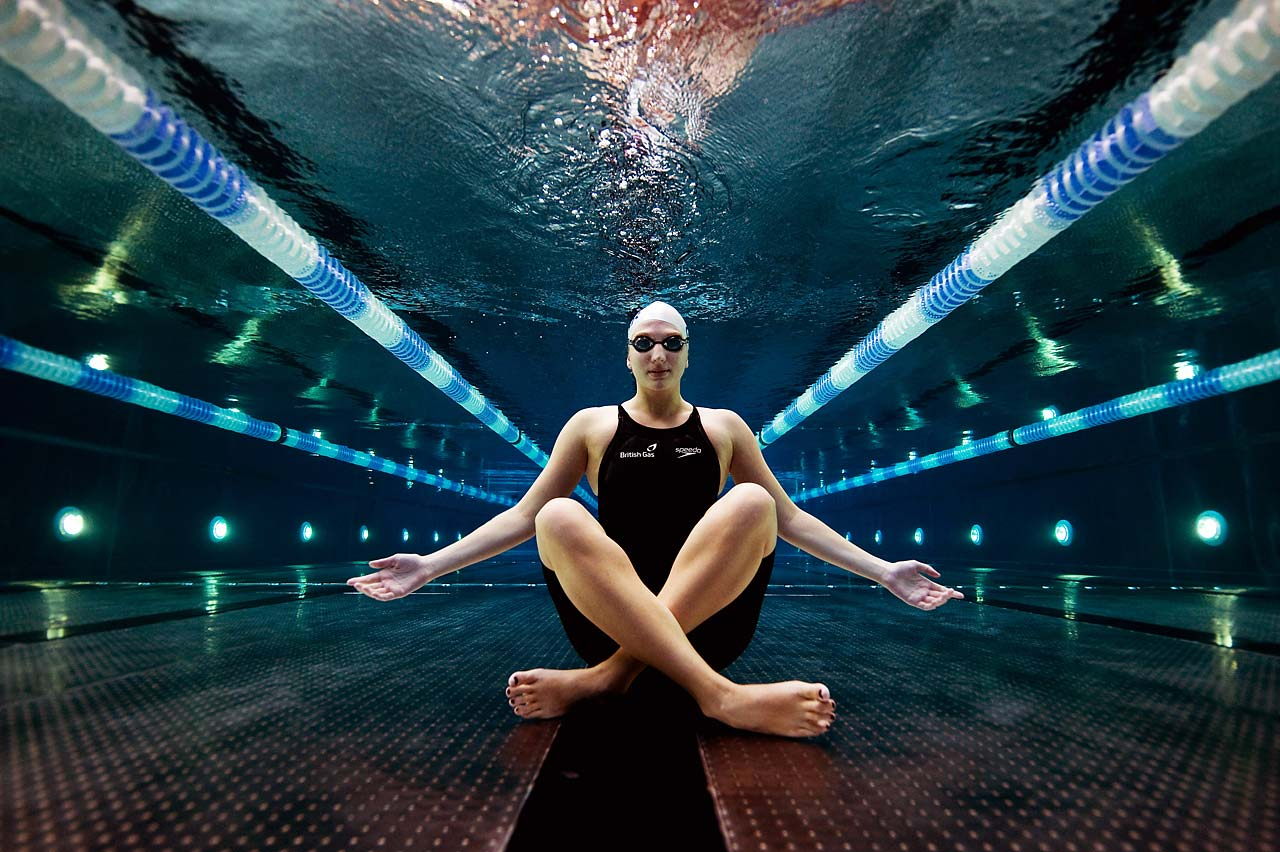 World and Olympic champion swimmer Rebecca Adlington poses for an underwater portrait during a 2011 photo session in Nottingham, England.