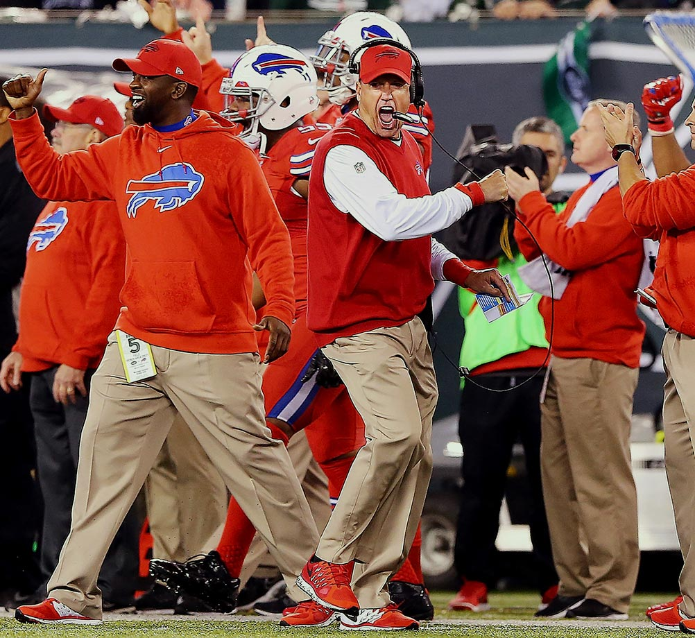 "Rex Ryan was fired by the Jets after six seasons and immediately hired by Buffalo in January 2015. In Ryan's return to the Meadowlands on Thursday night his defense had two interceptions, recovered a fumble and stopped the Jets inside the Bills 10 in the final minutes — prompting some vigorous fist pumps Ryan repeated, along with a flying headset, when Bacarri Rambo clinched a 22-17 Bills victory over New York with a last-minute pick. ""I can tell the truth, this thing is kind of like being dumped by some girl you have the hots for,"" Ryan said to reporters at an overflowing news conference. ""Every guy in this room has been dumped by a girl. You move on, and every now and then, they call you back. And they can't have you back."""