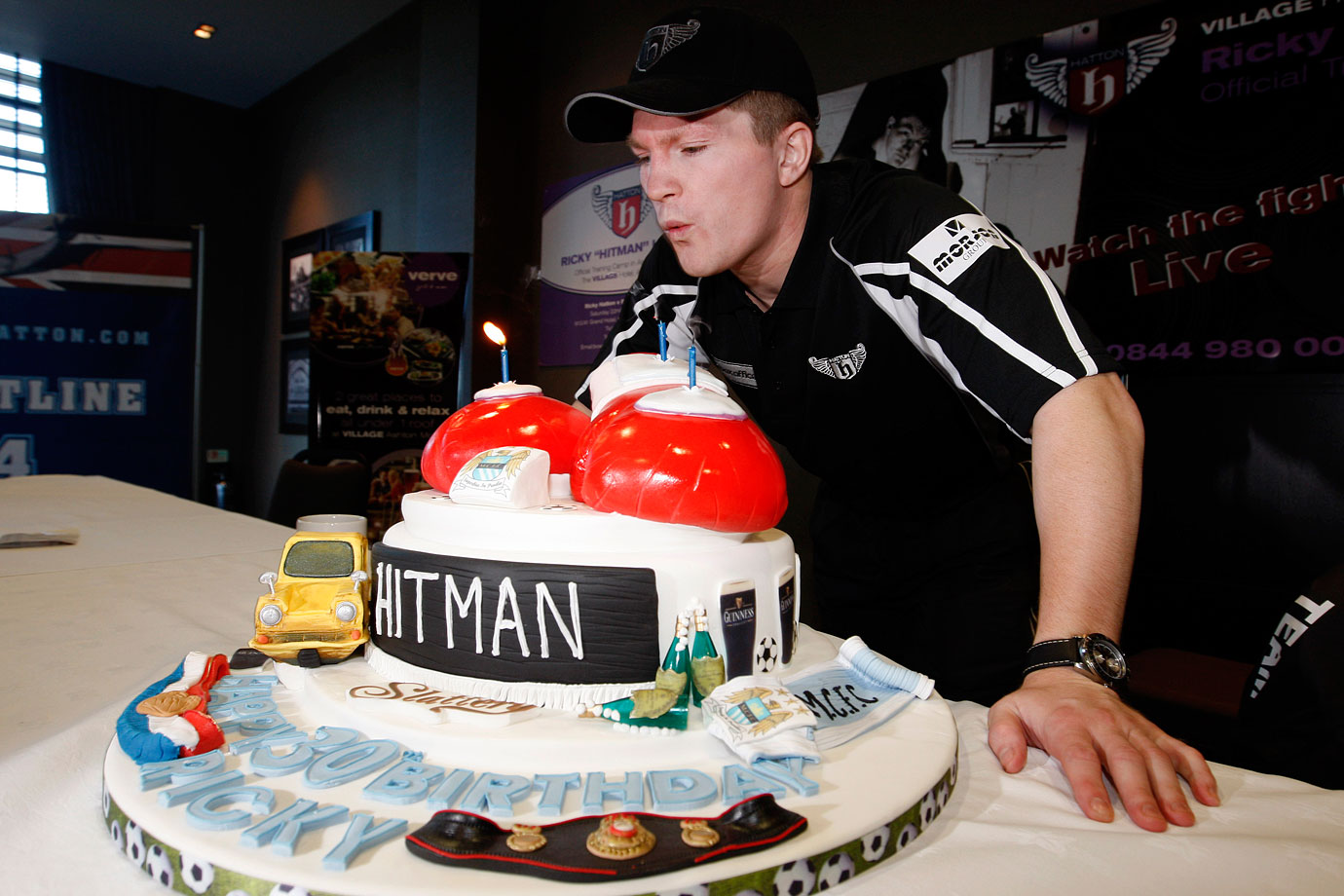 Former boxing champ Ricky Hatton celebrated his 30th birthday before a press conference for his 2008 IBF light welterweight fight against Paulie Malignaggi in Manchester, England. Hatton won the fight via 11th-round TKO.