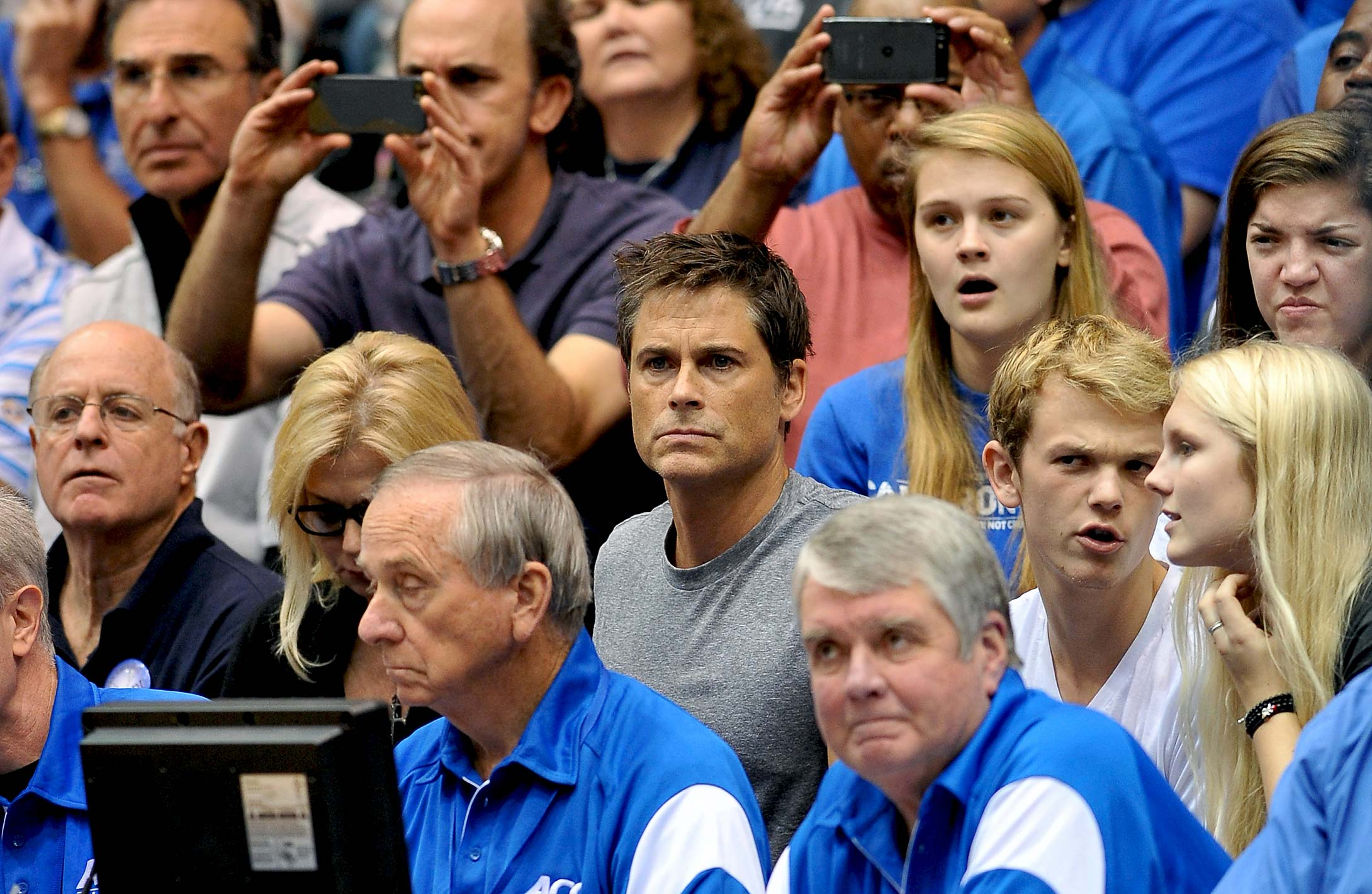 Rob Lowe looks on during a 2012 game between the Western Washington Vikings and the Duke Blue Devils at Cameron Indoor Stadium in Durham.