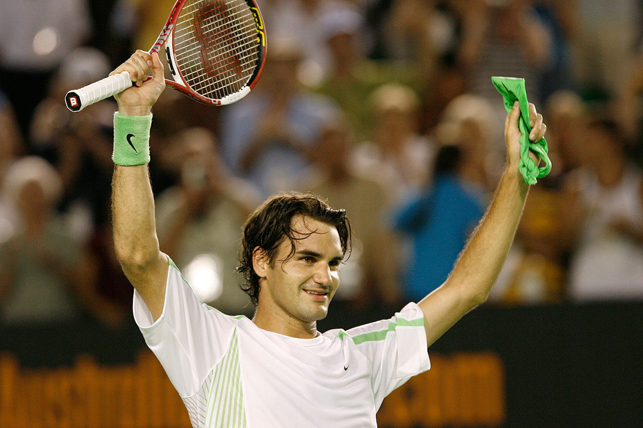 The 24-year-old Federer tied Mats Wilander and John McEnroe with his seventh major title, defeating Marcos Baghdatis in the final.
