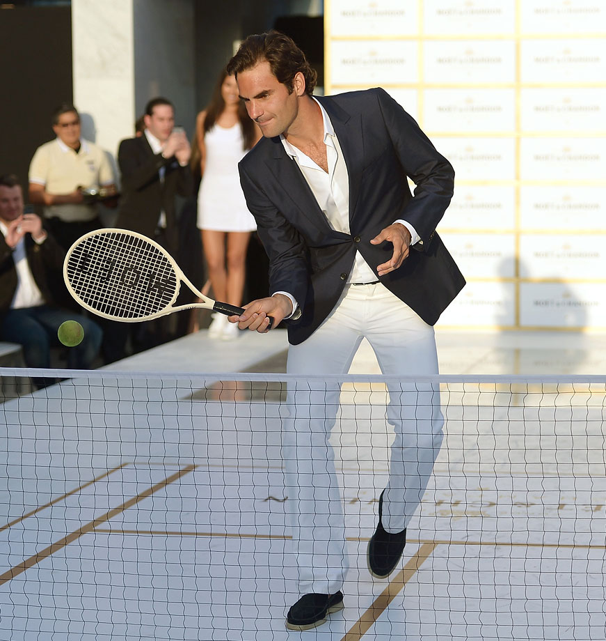 In this outfit, Roger Federer will certainly be the most dapper tennis player at Wimbledon, although it would be a real shame to get grass stains on those crisp white pants.