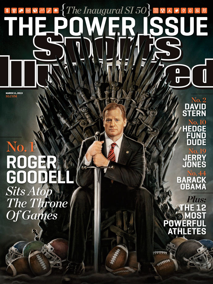 An illustration of NFL commissioner Roger Goodell sitting on the Iron Throne appears on the March 11, 2013 cover of Sports Illustrated.