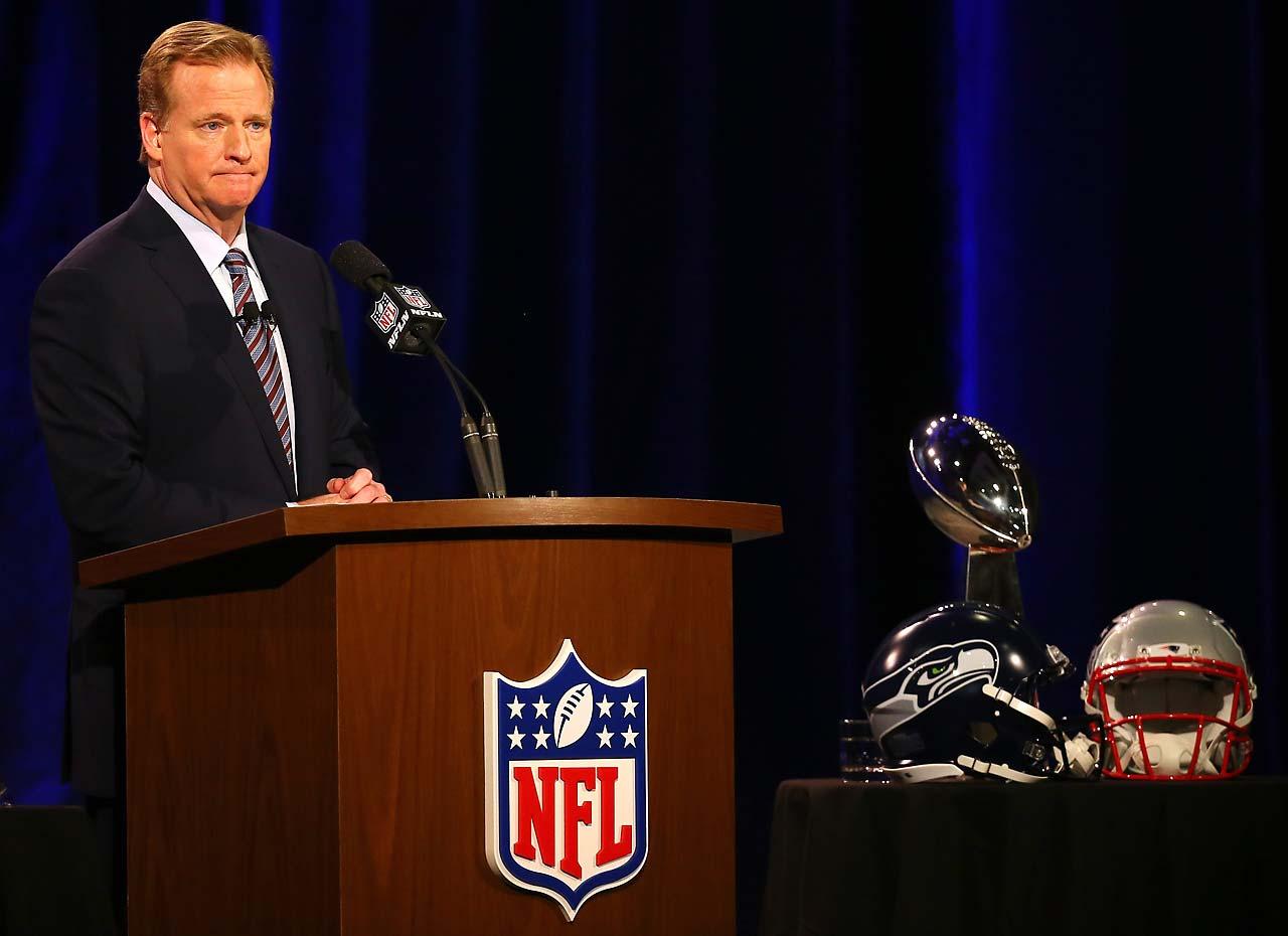 NFL Commissioner Roger Goodell speaks during a Friday press conference prior to Super Bowl XLIX.