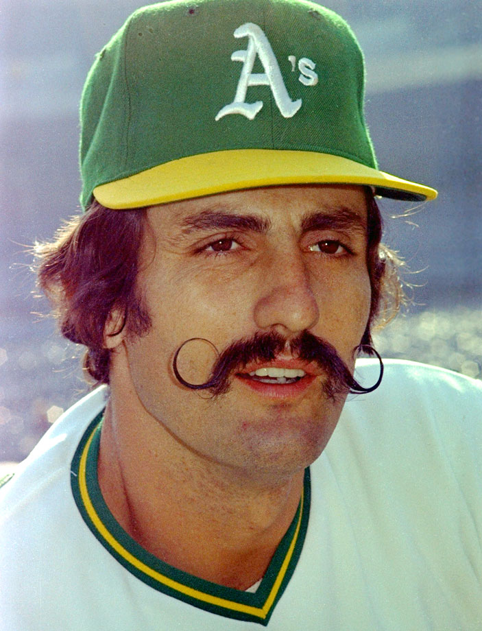 The product of his desire to secure a $300 bonus offered by team owner Charles O. Finley, this handlebar `stache worn by the A's closer deserves enshrinement in the Hall of Fame on its own.