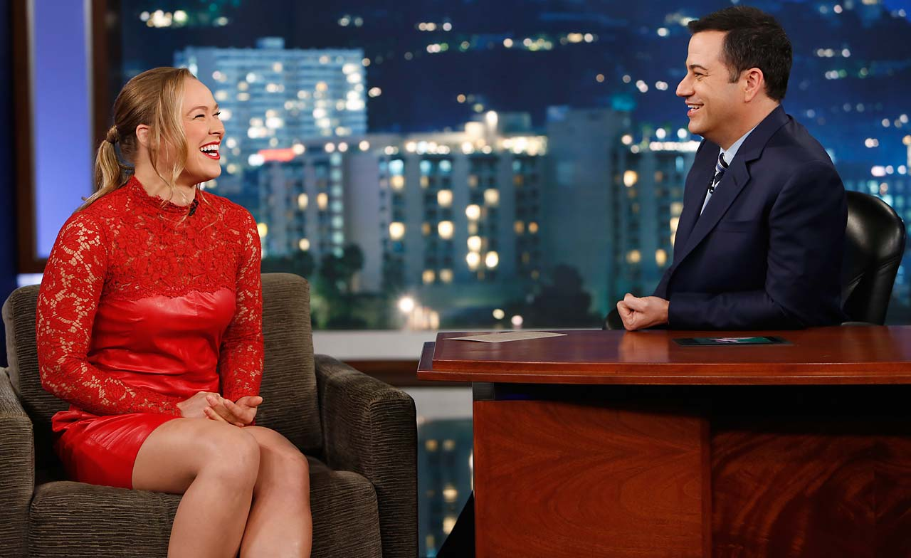 "Ronda Rousey made an appearance on ""Jimmy Kimmel Live"" in early December 2013."