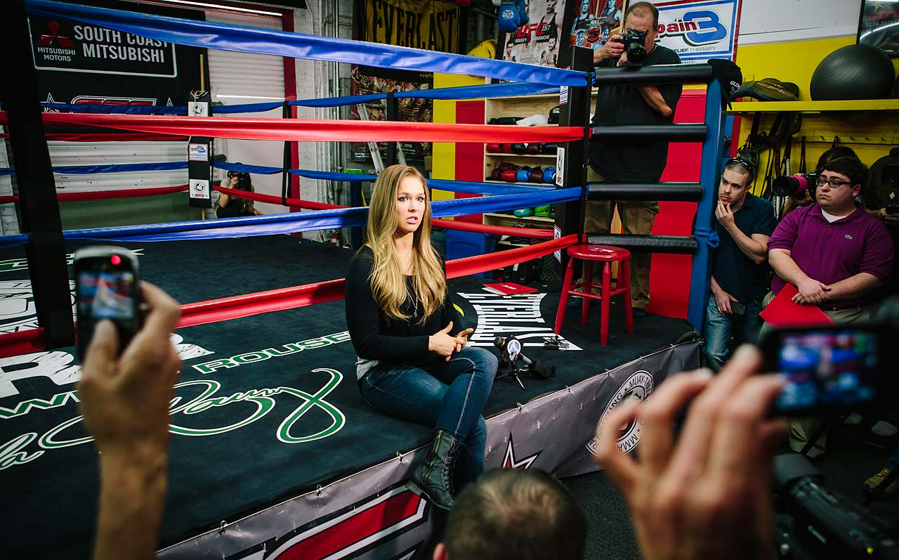 Ronda Rousey speaks to members of the media at the Glendale Fighting Club ahead of her fight against Cat Zingano.
