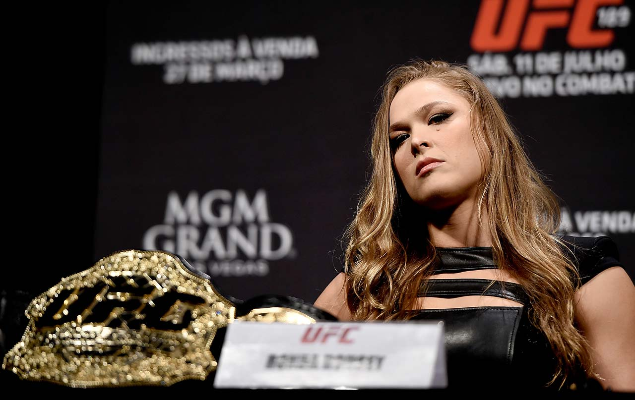 Ronda Rousey looks on during the UFC 189 World Media Tour Launch press conference in Rio de Janeiro.