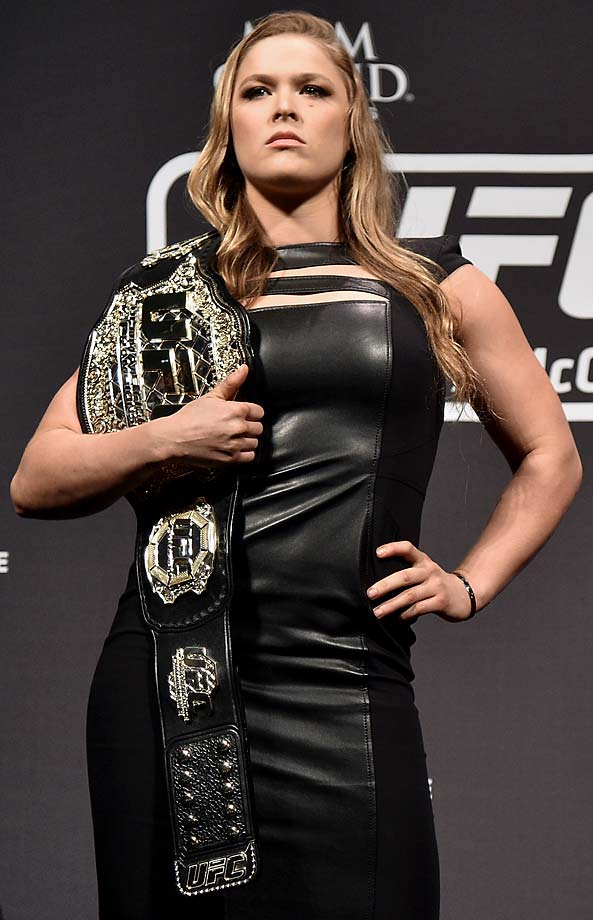 Ronda Rousey poses for the media during the UFC 189 World Media Tour Launch press conference in Rio de Janeiro, Brazil.