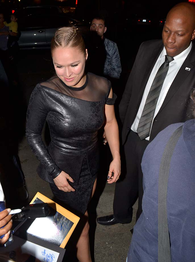 Ronda Rousey is seen at 'Jimmy Kimmel Live' in Los Angeles.