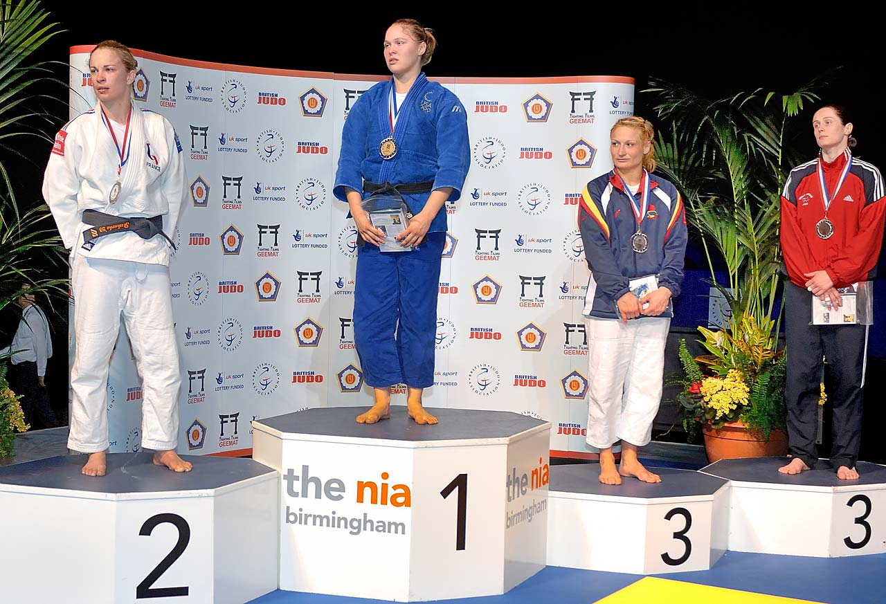 Ronda Rousey with her gold medal at the Fighting Films Birmingham Women's World Cup at the National Indoor Arena, Birmingham, England.