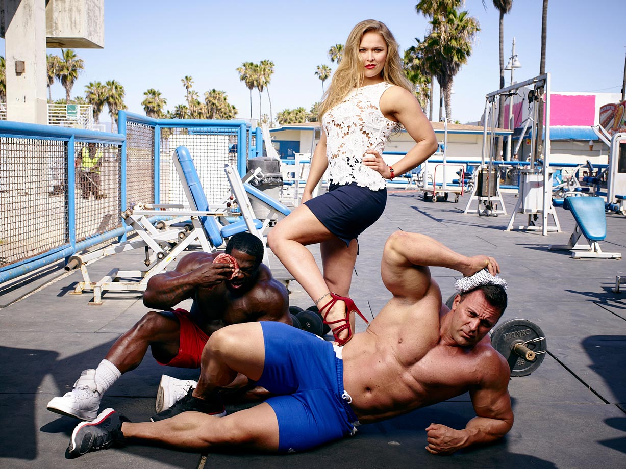 Ronda Rousey poses during a photo shoot for SI in Los Angeles.