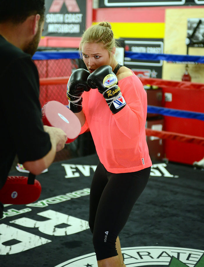 Ronda Rousey trains during a photo shoot for SI in Los Angeles.