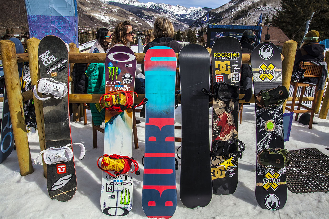 The snowboards belonging to the superpipe riders littered the area outside of the athlete's lounge on Saturday morning before the women's final.